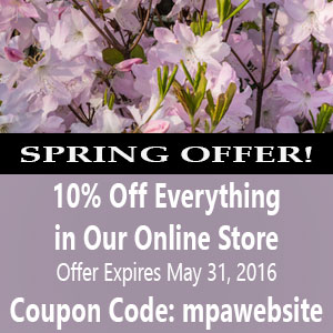 2016 Spring Sale - 10% off all items in online store through 5/31/16 coupon code: mpasite